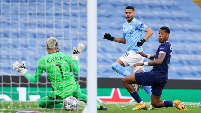 BREAKTHROUGH: Riyad Mahrez pokes the opening goal under Keylor Navas