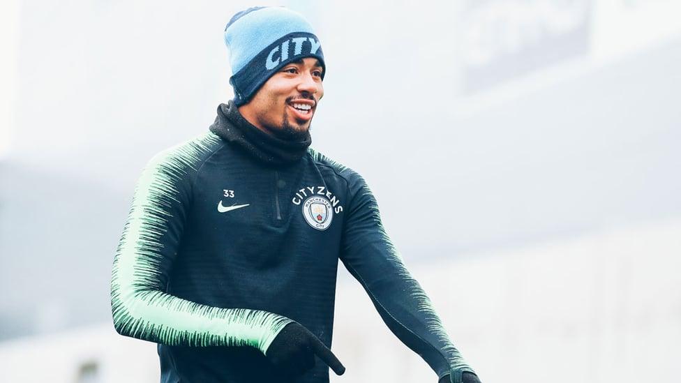 BOY FROM BRRRRRR-AZIL : Gabriel Jesus is all smiles despite the wintry weather
