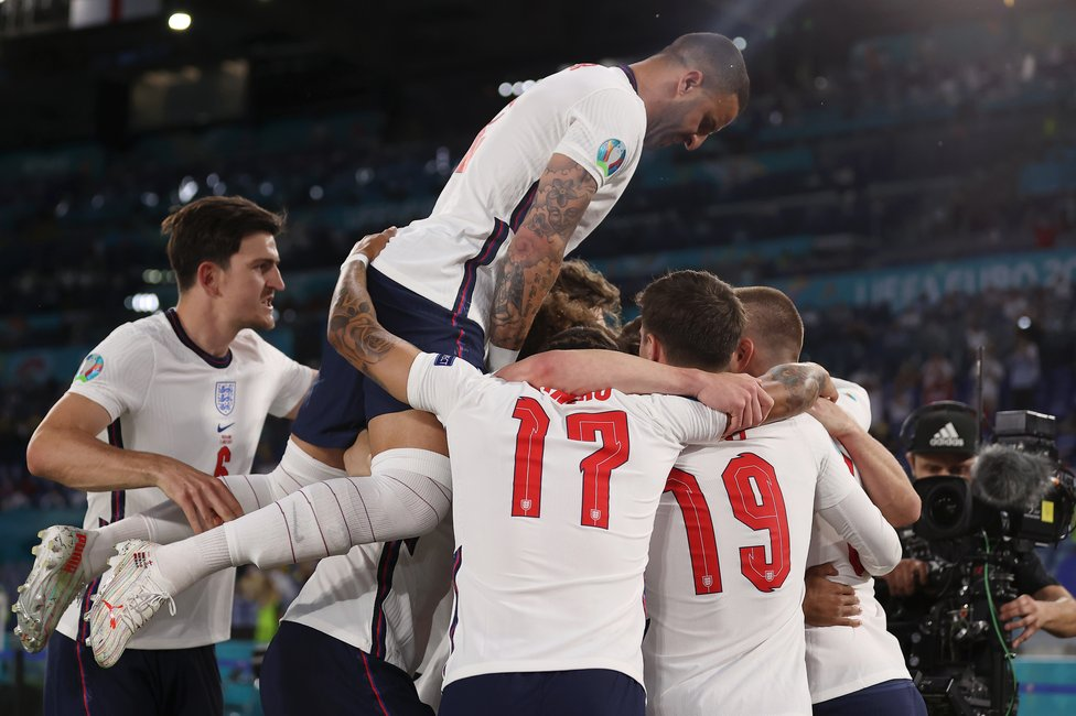 UN-FOUR-GETTABLE : A 4-0 win for England over Oleks Zinchenko's Ukraine sends the Three Lions through to the semis!