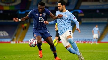 GUNNING FOR GLORY: Ilkay Gundogan looks to get the better of Chancel Mbemba