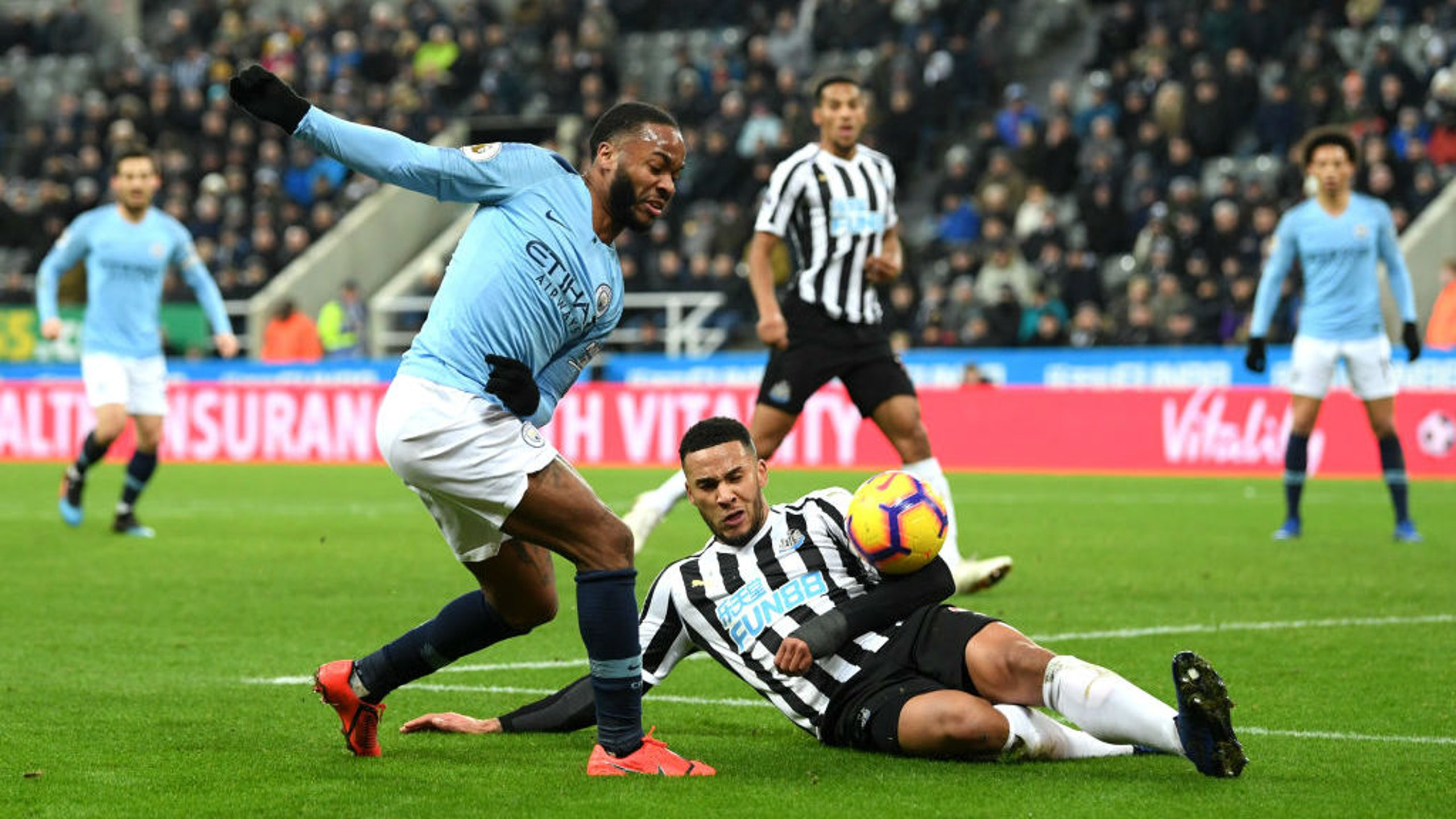 CAUSING A STER: Raheem Sterling clips a cross into a dangerous area