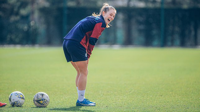 FUN AND GAMES : Keira Walsh, in understandably high spirits after her match-winning strike against Everton