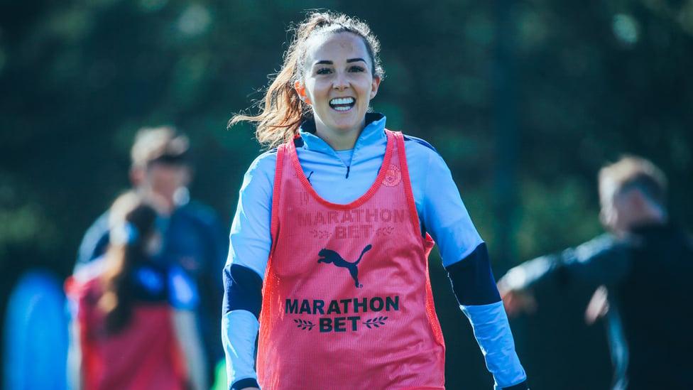 SMILES BETTER: Caroline Weir clearly enjoyed Thursday's session!