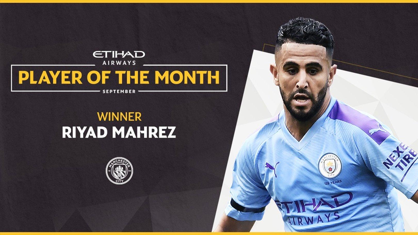Mahrez voted September Etihad Player of the Month