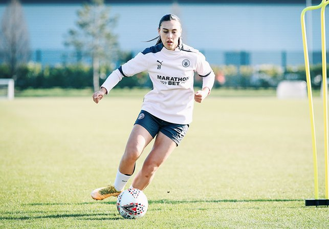 ON THE BALL : Teenager Millie Davies, soaking up more valuable first-team experience