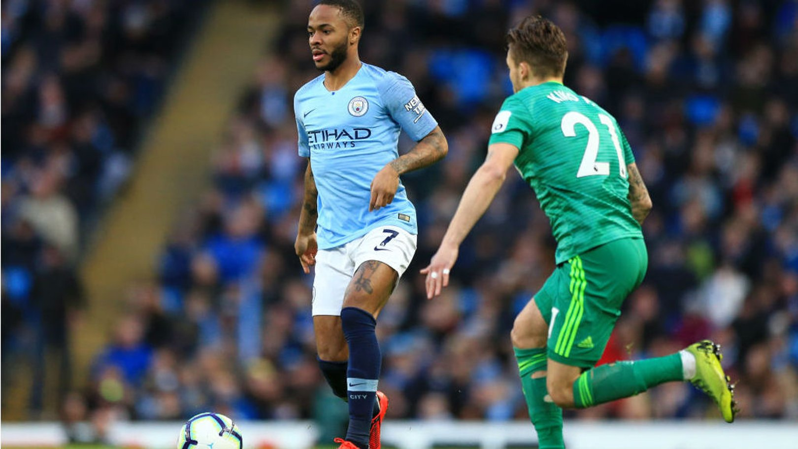 RAZZLE DAZZLE: Raheem Sterling gets City on the front foot