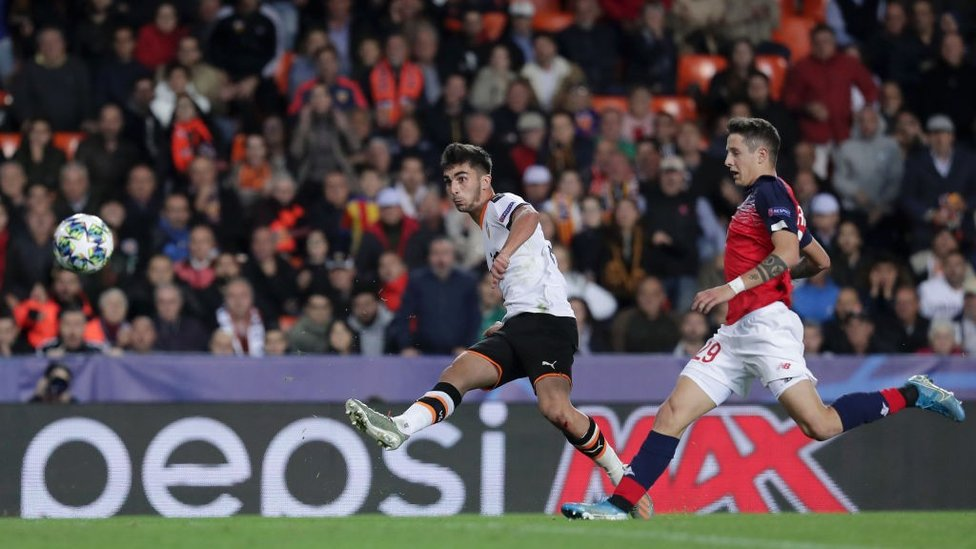 MILESTONE : Firing home against Lille to become Valencia's youngest Champions League goalscorer.