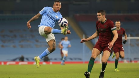 UP HIGH: Gabriel Jesus plucks the ball out of the air