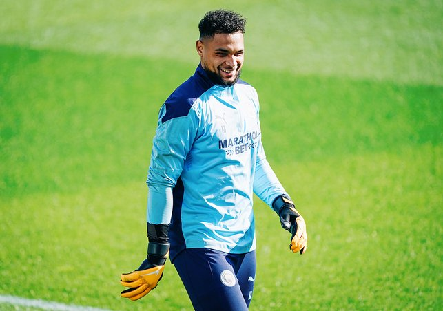 ALL SMILES: Zack Steffen looked happy to be back at work at the CFA!