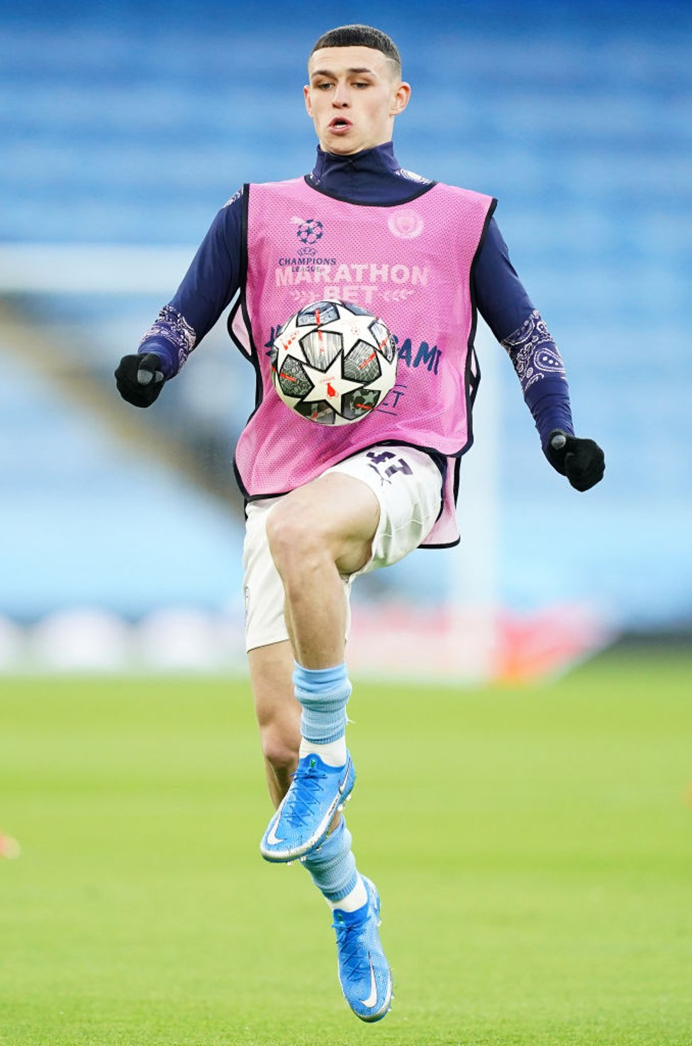 PHIL-ING IT : Foden gets a feel for the ball after being named in the starting XI.