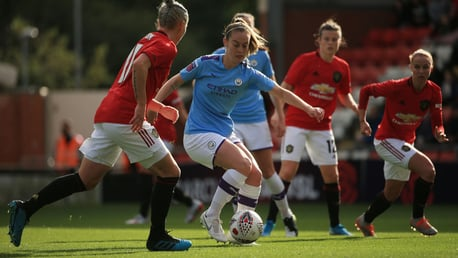 BLUE v RED: City fan Keira Walsh in action against United