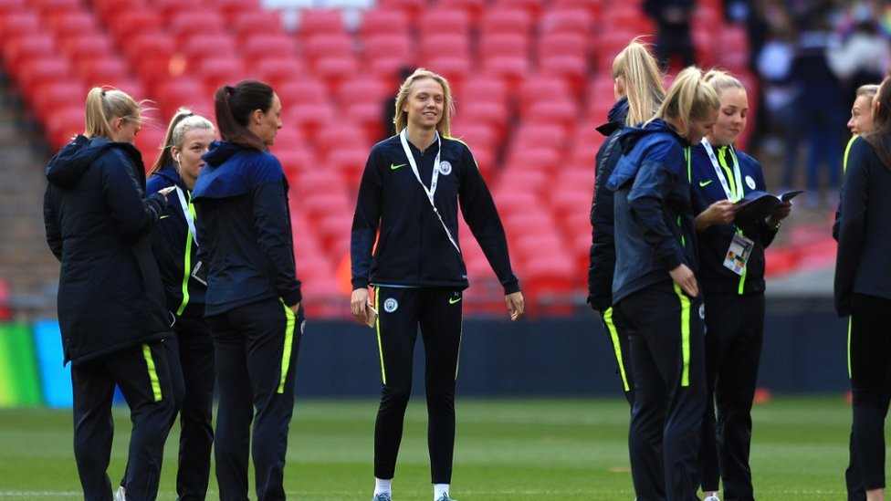 Nick Cushing's side inspect the pitch ahead of FA Women's Cup final