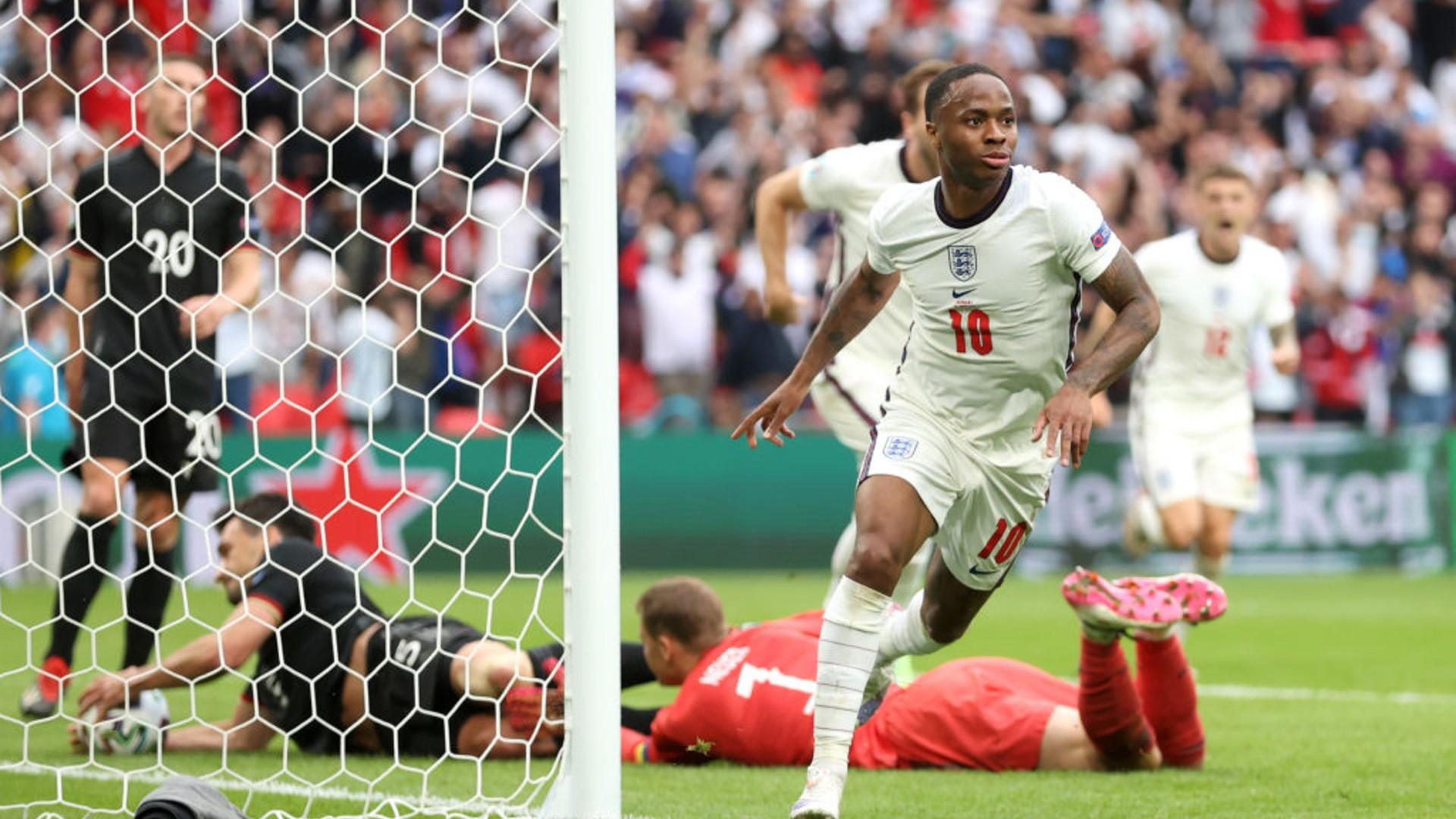 LETHAL WEAPON: Raheem Sterling celebrates after his last-16 strike against Germany
