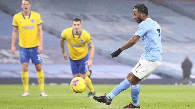 SPOT KICK : Substitute Sterling misses from the penalty spot in stoppage time.