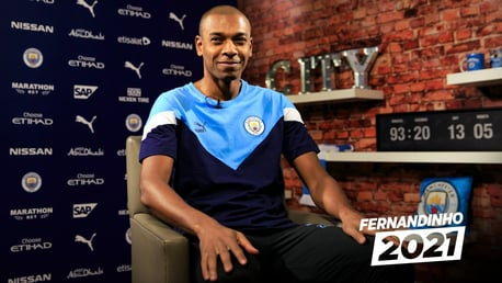 IN THE HOT SEAT: Fernandinho sits down to discuss his new contract.