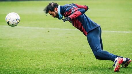 HEADS UP: Bernardo Silva is at full throttle as he powers in a header