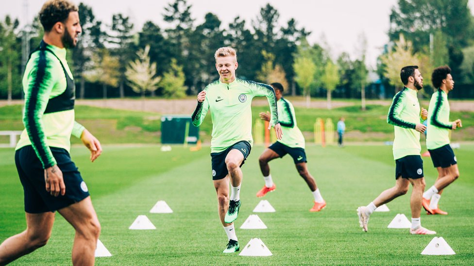 KNEES UP : Oleksandr Zinchenko and his teammates are put through their paces