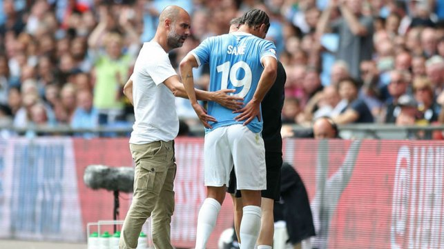 SETBACK: Pep Guardiola expresses concern after Leroy's serious knee injury in the 2019 Community Shield