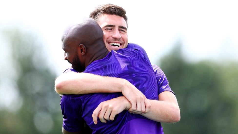 LES BLEUS : Hugs for French compatriots Aymeric Laporte and Eliaquim Mangala