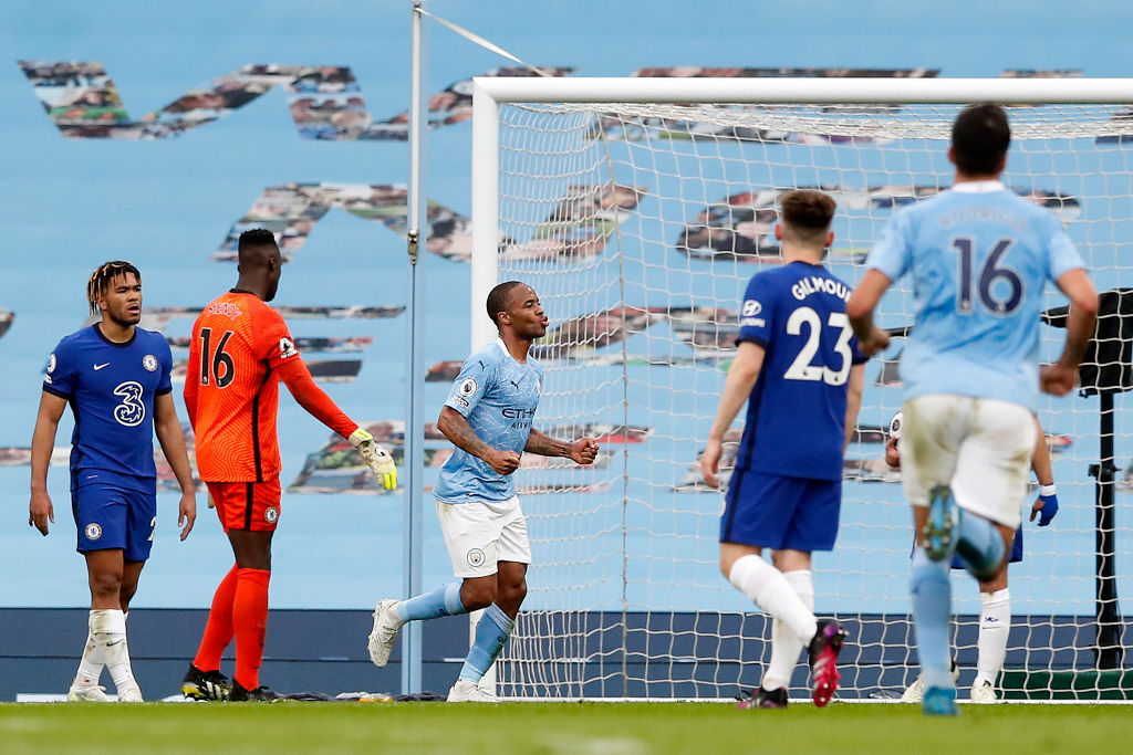 STRIKE A POSE: Raheem Sterling celebrates after his all-important goal