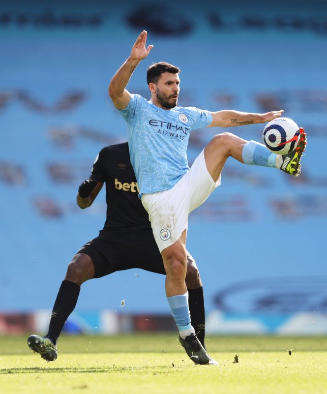 PERFECT TOUCH : Aguero gets the ball under control as City push forward in the second half.