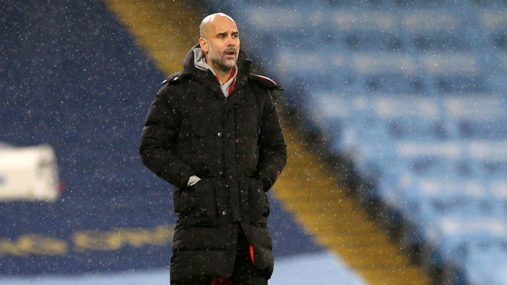 THE BOSS: Pep watches on from the touchline