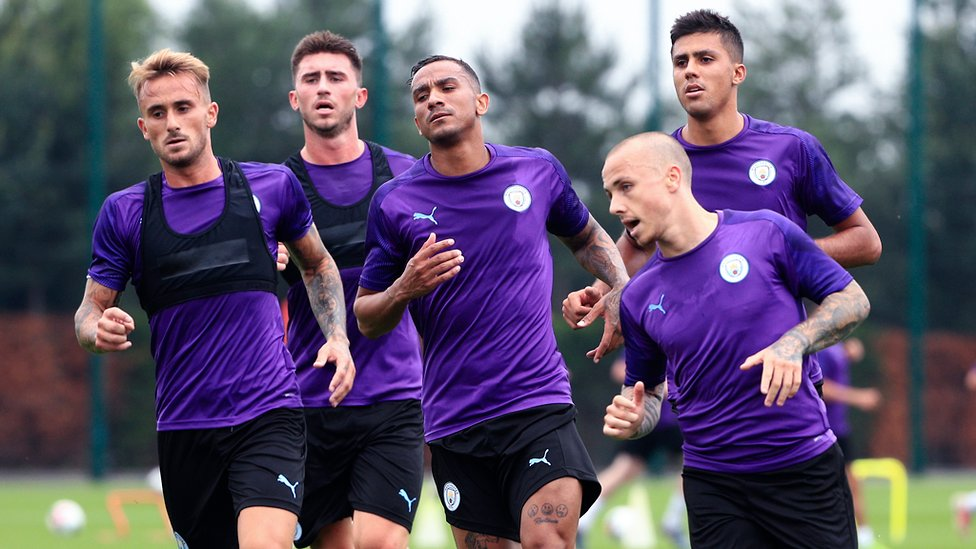LEAN TO IT : New signing Angelino, Aleix Garcia, Aymeric Laporte, Danilo and Rodri turn up the heat
