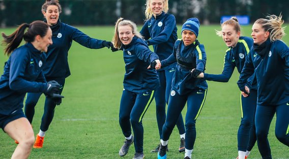 PRIDE AND PASSION: Returning England stars Lauren Hemp, Nikita Parris and Keira Walsh get into the swing of things