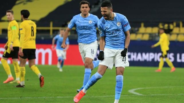 DELIGHT IN DORTMUND: The Algerian celebrates his goal