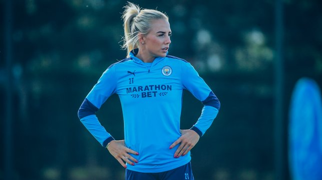 FOCUS TIME: Fellow new signing Alex Greenwood was a study in concentration