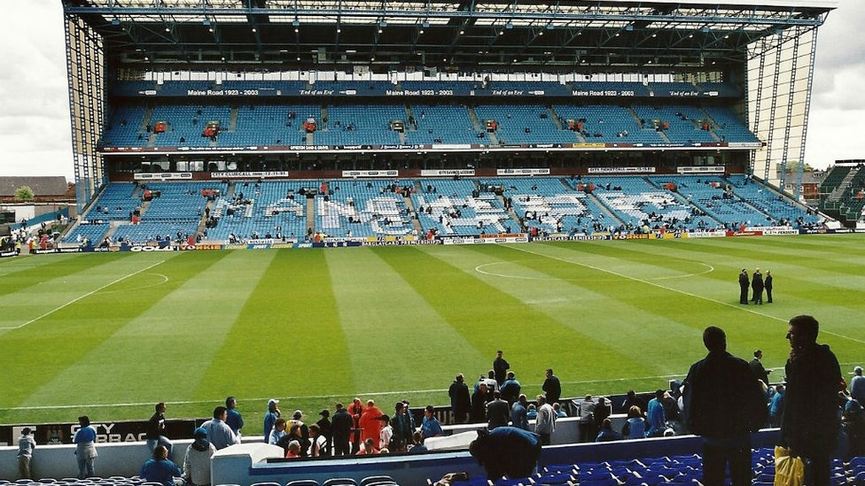 POIGNANT PICTURE: The scene as fans begin to arrive for our final Maine Road fixture