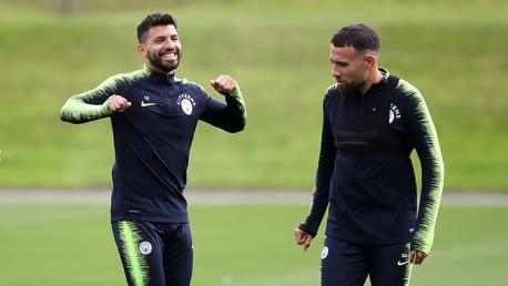 TWO'S COMPANY: City and Argentina team-mates Sergio Aguero and Nicolas Otamendi