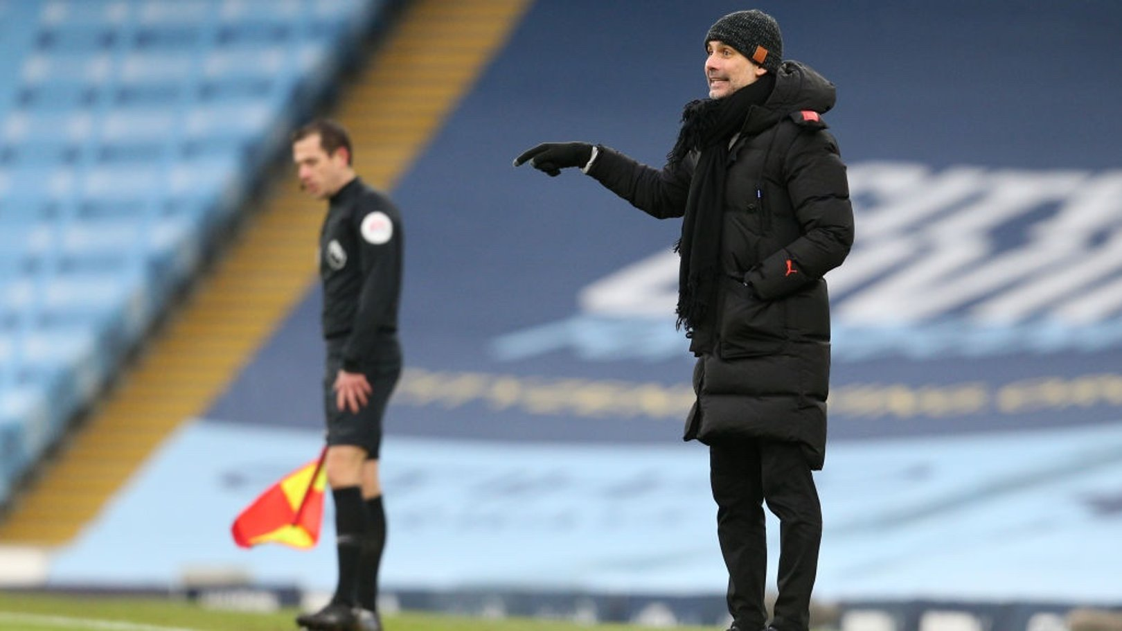 PEP TALK: The boss provides some final instructions as City pick up another three points!