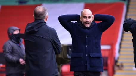 SO CLOSE: Pep Guardiola can't believe it as City almost add to our first-half lead