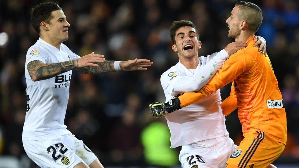 CUP JOY : Celebrating Valencia's 2019 Copa Del Rey quarter-final win over Getafe. Los Che went on to win the final.