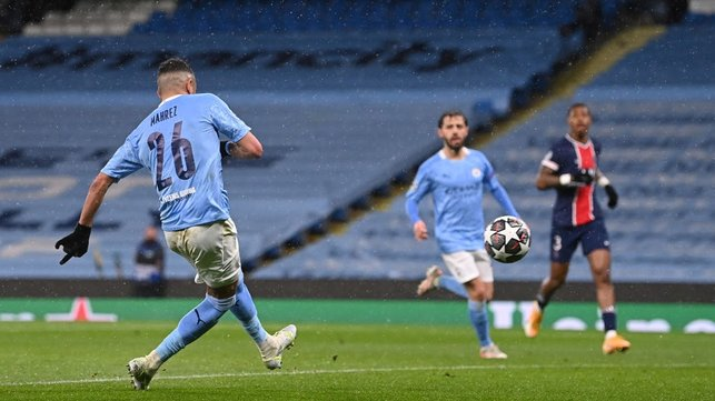 BREATHING SPACE: Riyad Mahrez smashes home his and City's second of the night