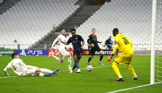 JOB DONE: Raheem adds some gloss to the scoreline as City move clear at the top of Group C