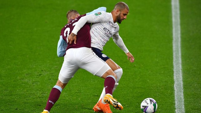 STRENGTH : Kyle Walker battles for the ball with Matej Vydra.