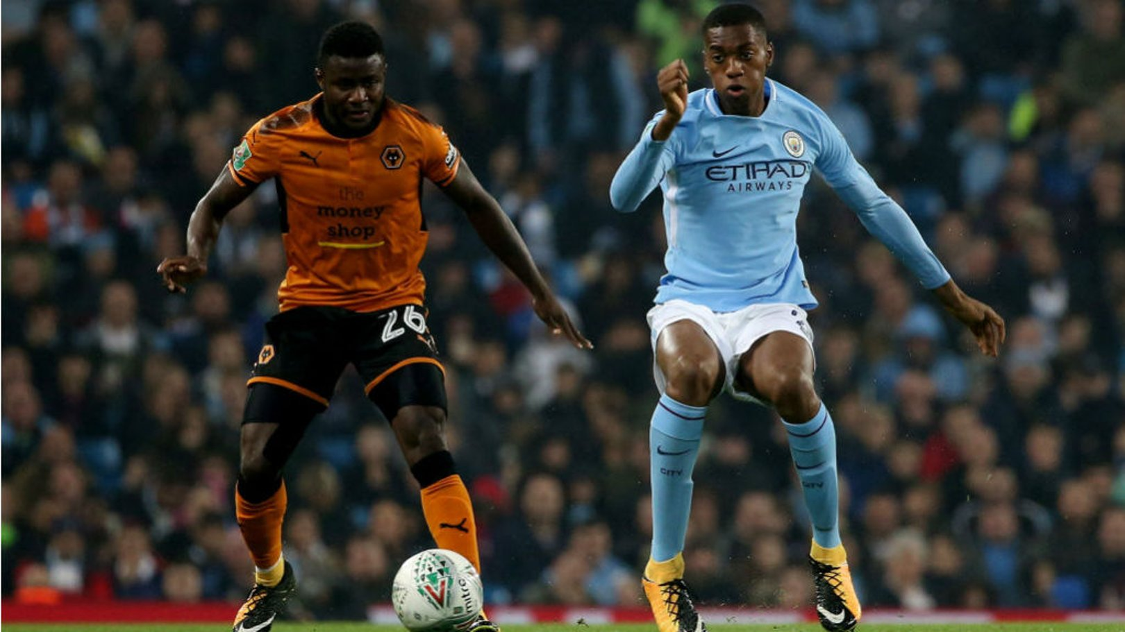NO ENTRY: Tosin Adarabioyo keeps tabs on a rare Wolves attack