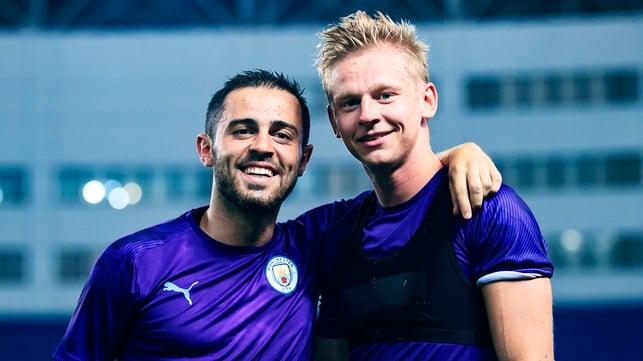 BLUES BROTHERS : Bernardo Silva and Oleks Zinchenko share a smile