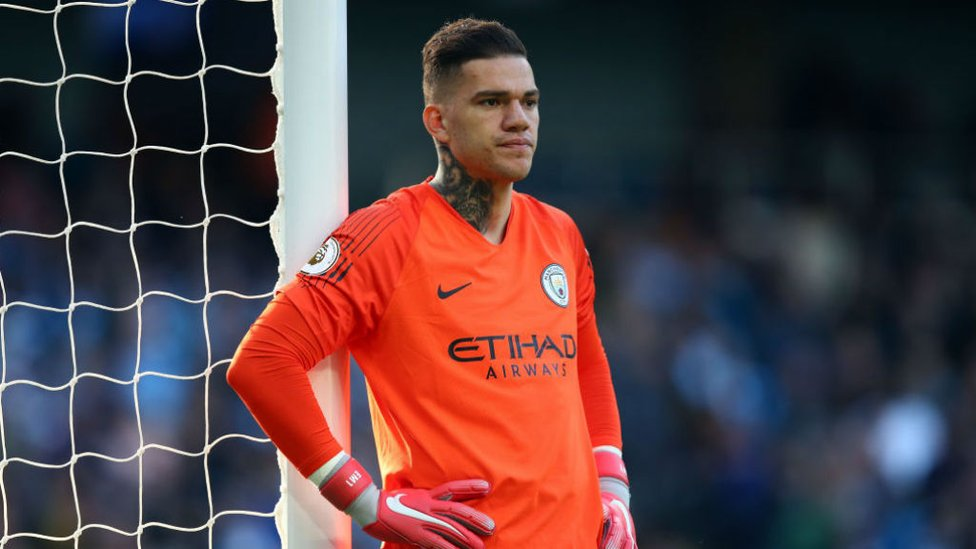 STEADY EDDIE : Ederson watches on as City see the game out