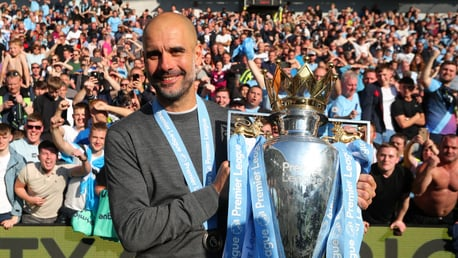 Pep Guardiola 201819 Premier League celebration Brighton.