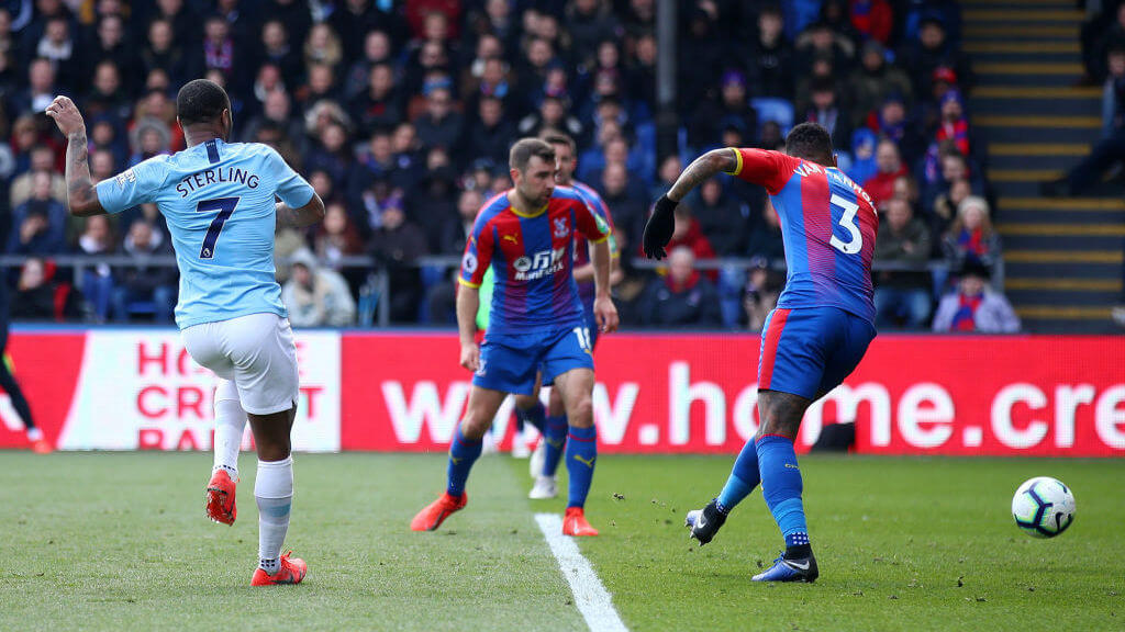 AIM AND FIRE : Sterling grabs his second goal of the game and doubles City's lead