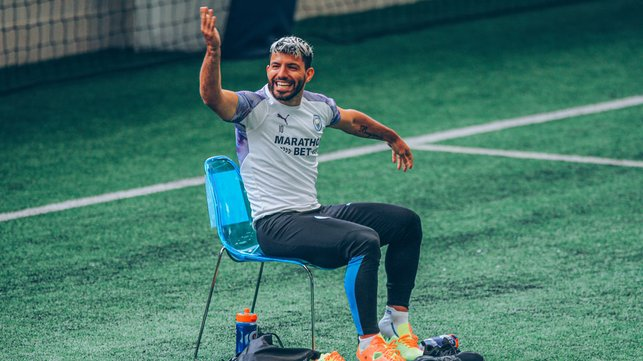IN THE HOT SEAT: Sergio Aguero was in high spirits during Wednesday's session