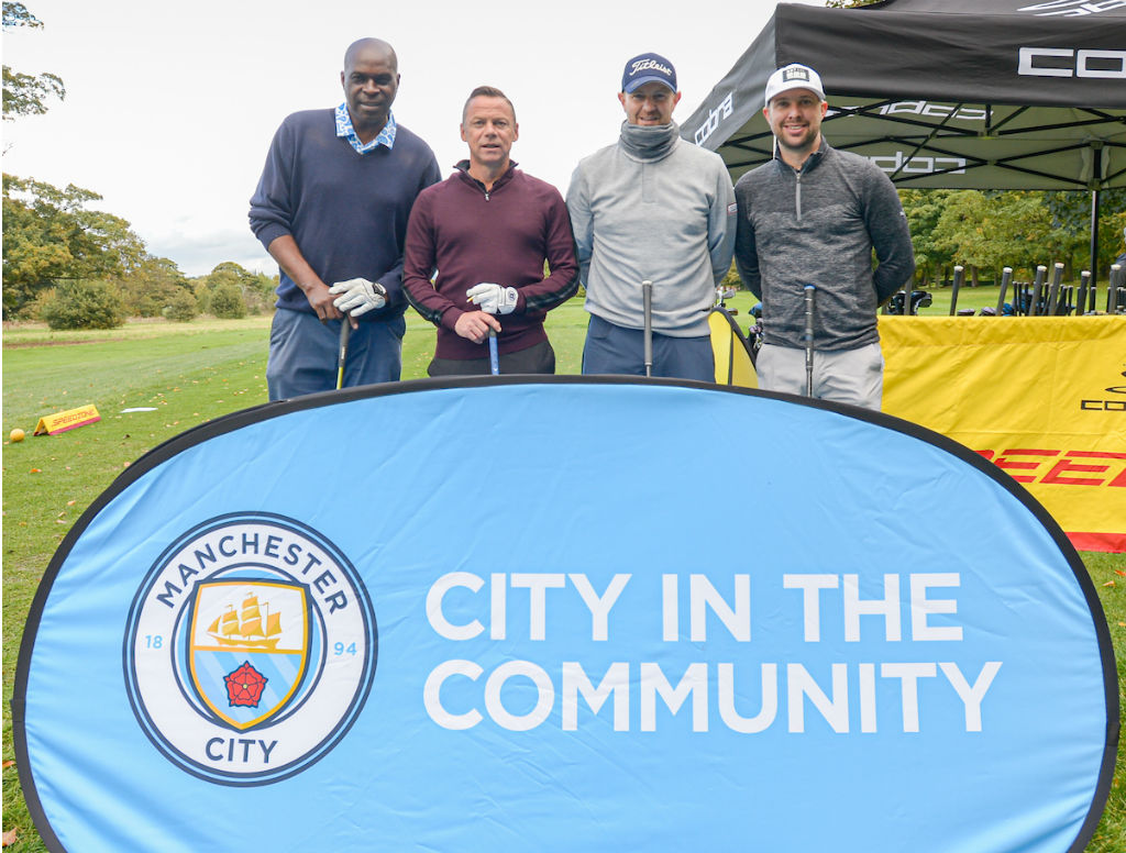ALL SMILES: Former City greats Alex Williams and Paul Dickov were among those lending their support to Blues on the Green