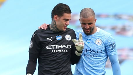 Ederson and Walker reach City landmarks