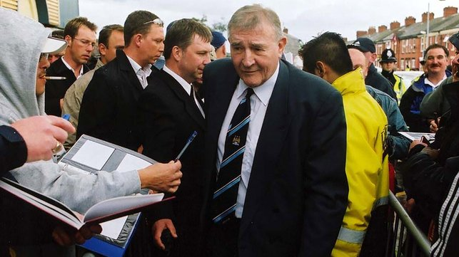 LEGEND: The late, great Malcolm Allison arrives at the ground ahead of the game