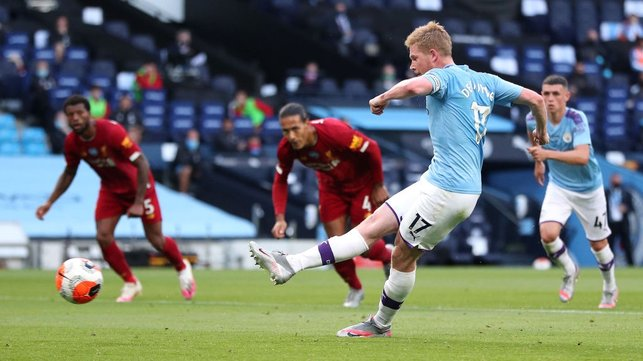 ON THE SPOT : De Bruyne calmly slots in the resulting spot kick to give us the lead in the 25th minute.