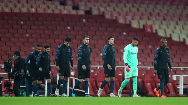 SQUAD GOALS: The team walk out onto the pitch