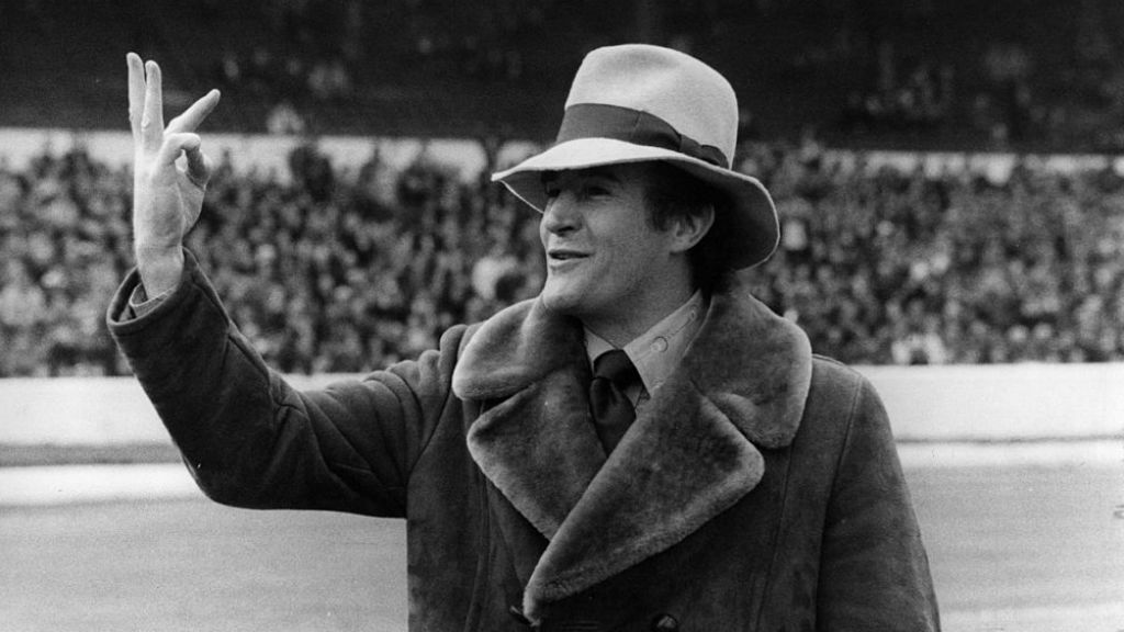 FLAMBOYANT: Big Mal celebrates after Crystal Palace's 3-2 FA Cup quarter-final win over Chelsea in 1976